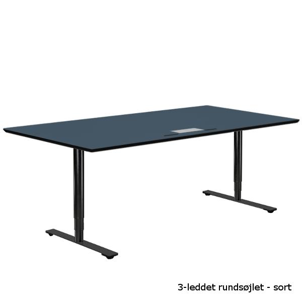 Hæve-sænkebord med blå linoleums bordplade og 3-leddet runde søjler i sort