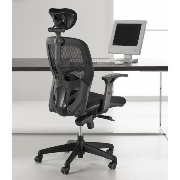 Tempo kontorstol med sort polstring og nakkestøtte